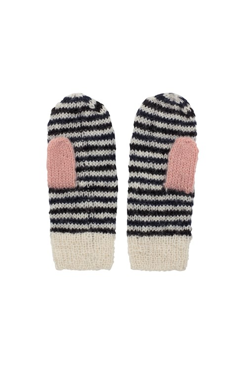 Striped Mittens in Navy