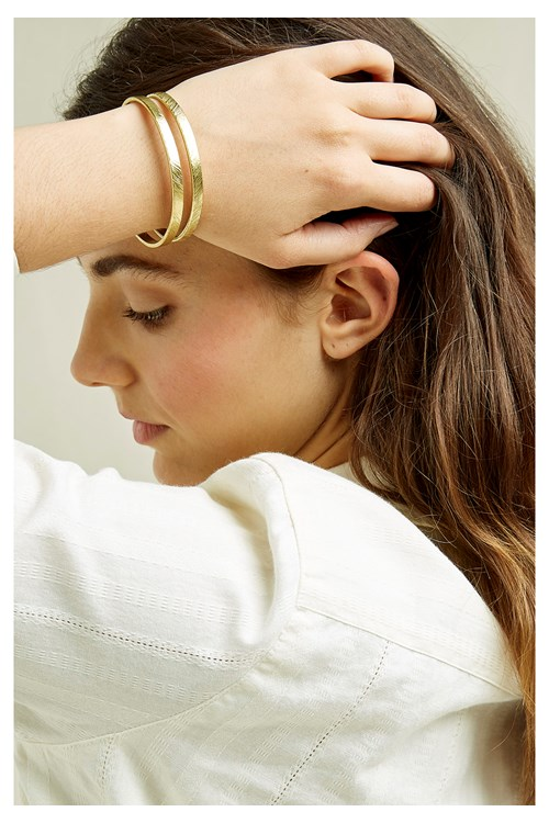 Textured Double Bangle - Brass