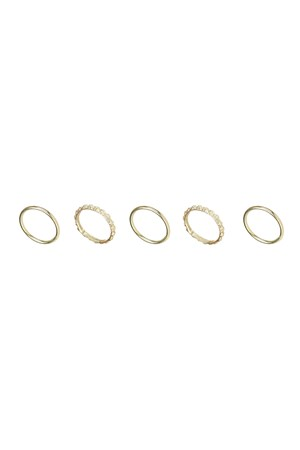 Textured Stacking Rings (Set Of 5) in Gold