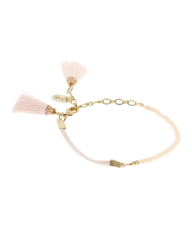 Tiny Tassel Bracelet in Pink