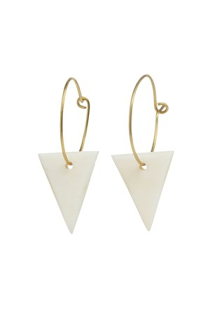 Triangle Hoop Earrings in Brass & Cream
