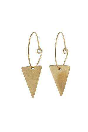Triangle Hoop Earrings in Brass