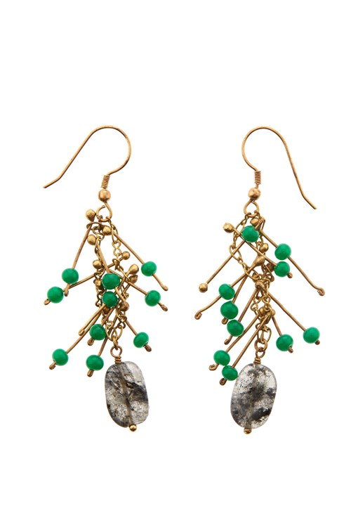 Waterfall Bead Earrings in Green