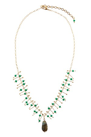 Waterfall Bead Necklace in Green