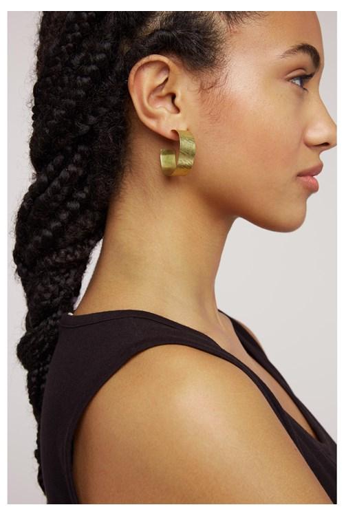 Wide Hoop Earrings in Brass from People Tree