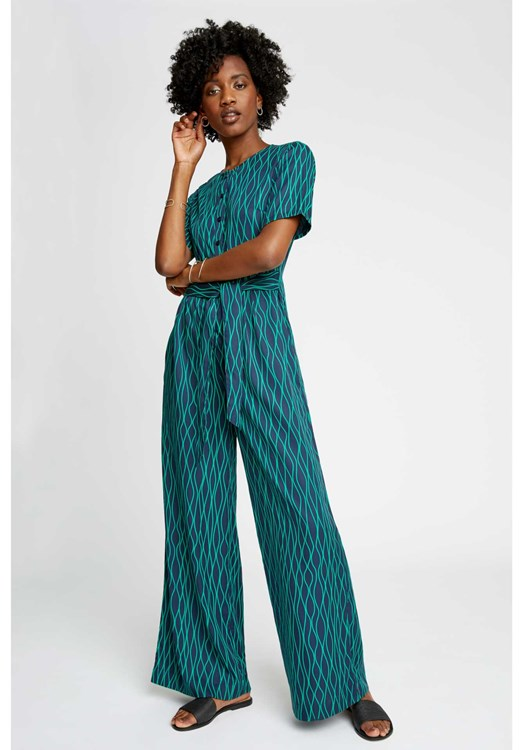 Rima Abstract Jumpsuit in Green