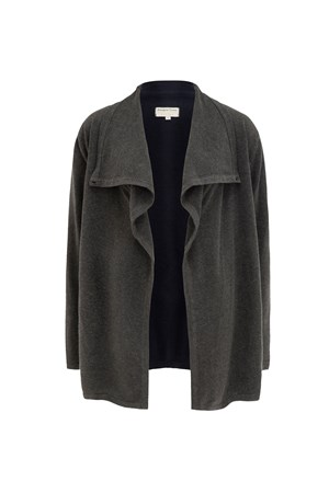 Cassia Longline Cardigan in Dark grey melange