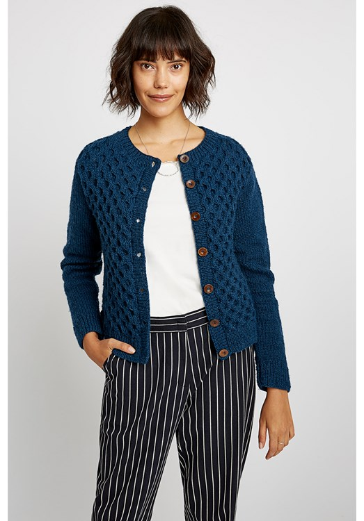 Honeycomb Cardigan in Navy