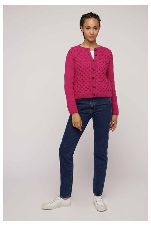 Honeycomb Cardigan In Pink from People Tree