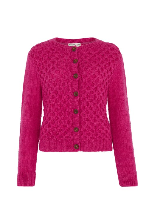 Honeycomb Cardigan In Pink