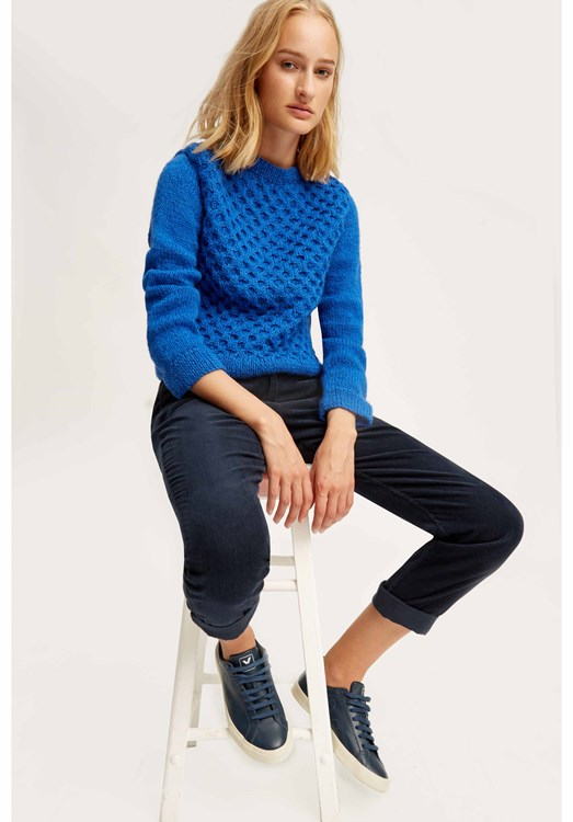 Honeycomb jumper in Blue