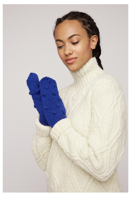 Knitted Bobble Mittens In Blue from People Tree
