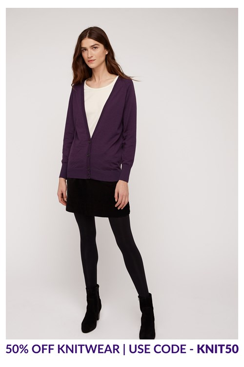 Lucy Cardigan In Purple from People Tree