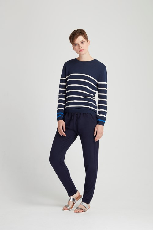 Nell Stripe Jumper in Navy from People Tree