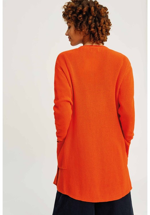 The Orange Cardigan consists of a dark orange cardigan and the white button-down shirt with a plaid pattern worn underneath. The cardigan is lined with brown and has dark brown buttons that go left over right and a pair of brown stripes on each sleeve.