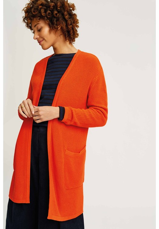 Nikita Long Line Cardigan Orange
