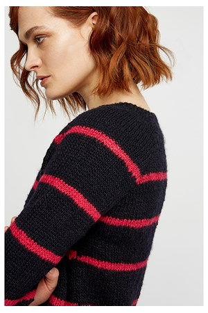 Sally Stripe Jumper in Navy and Raspberry