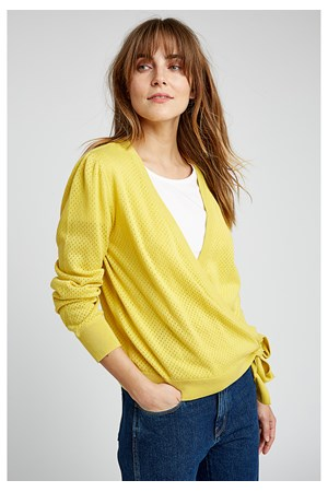 Sara Wrap Cardigan in Yellow