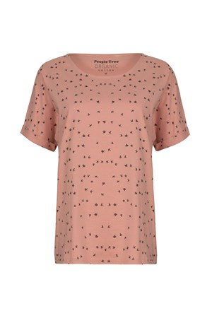 Birds Pyjama Short Sleeve Top in Pink