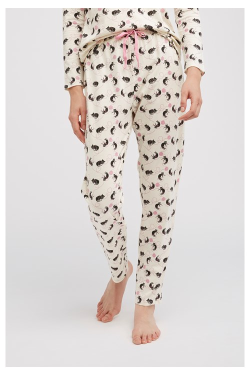 Cat Print Pyjama Trousers from People Tree