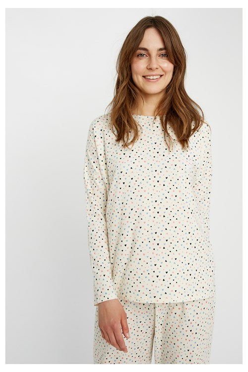 Heart Print Pyjama Long Sleeve Top