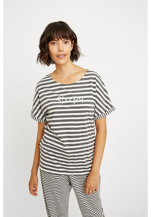 Sleepy Stripe Grey Pyjama Top
