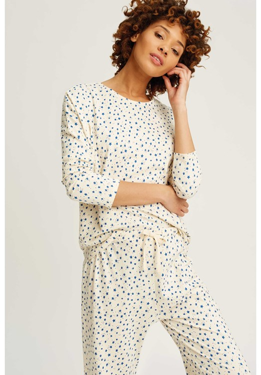 Stars Pyjama Long Sleeve Top in Cream