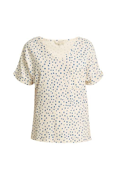 Stars Pyjama Short Sleeve Top in Cream from People Tree