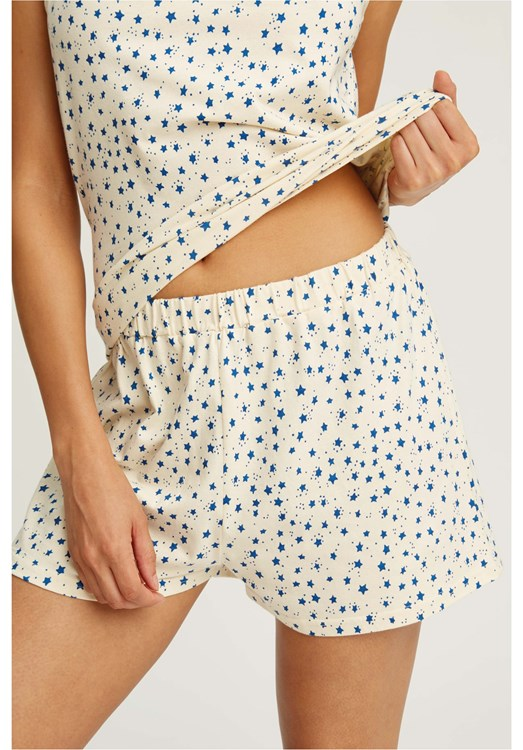 Stars Pyjama Shorts in Cream