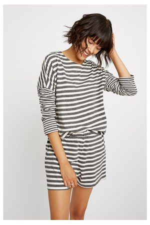 Stripe Grey Pyjama Long Sleeve Top