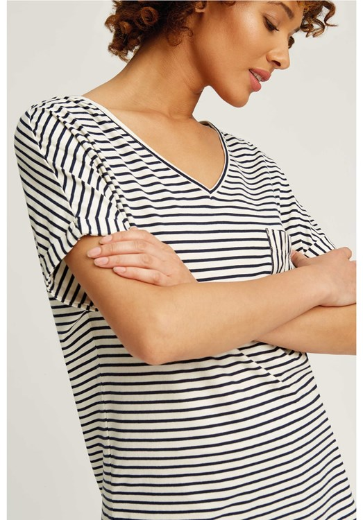 Stripe Pyjama Short Sleeve Top