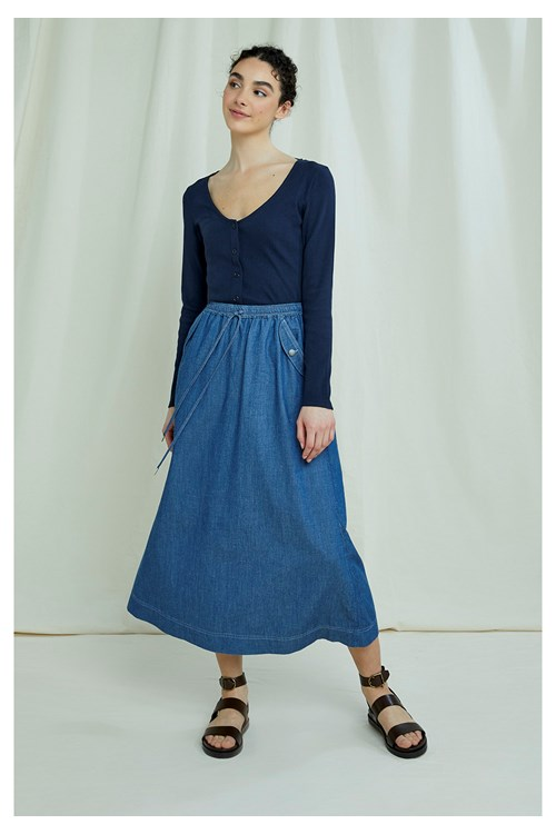 Daya Lightweight Denim Skirt