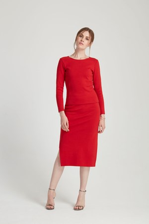 Lara Pencil Skirt in Red
