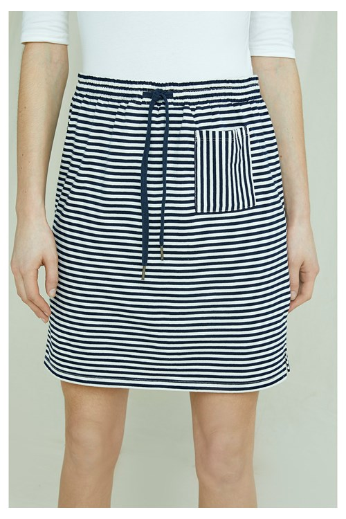Leia Stripe Skirt In Navy & White