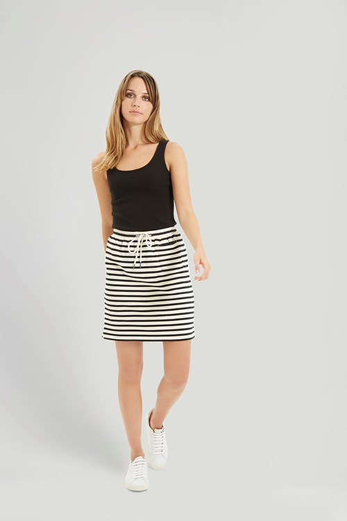Lia Stripe Skirt in Black