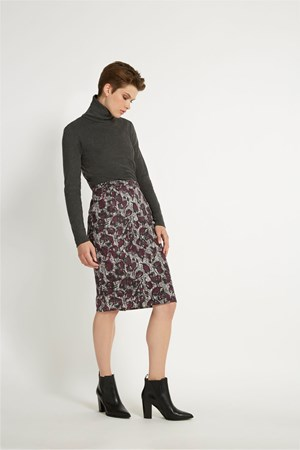 Ripley Pencil Skirt in Grey multi