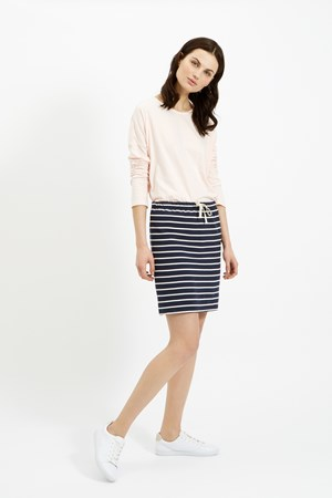 Selena Loopback Skirt in Navy Stripe