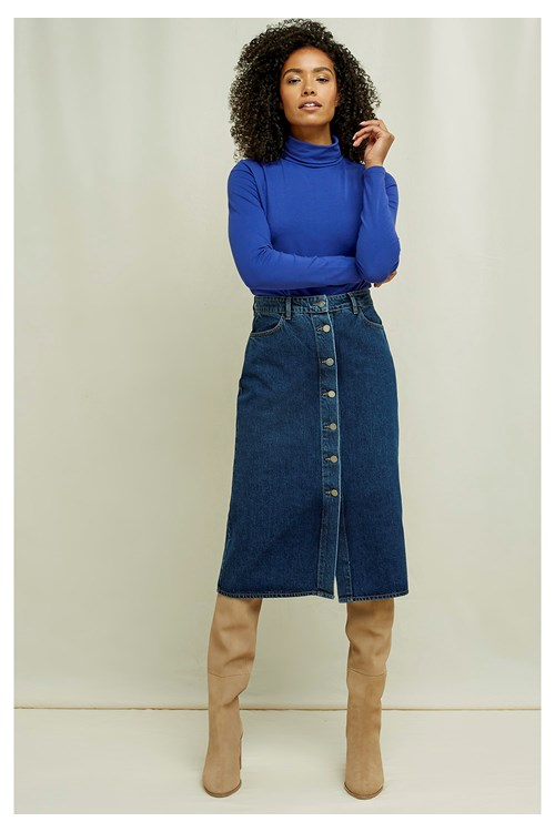 Stacey Denim Midi Skirt