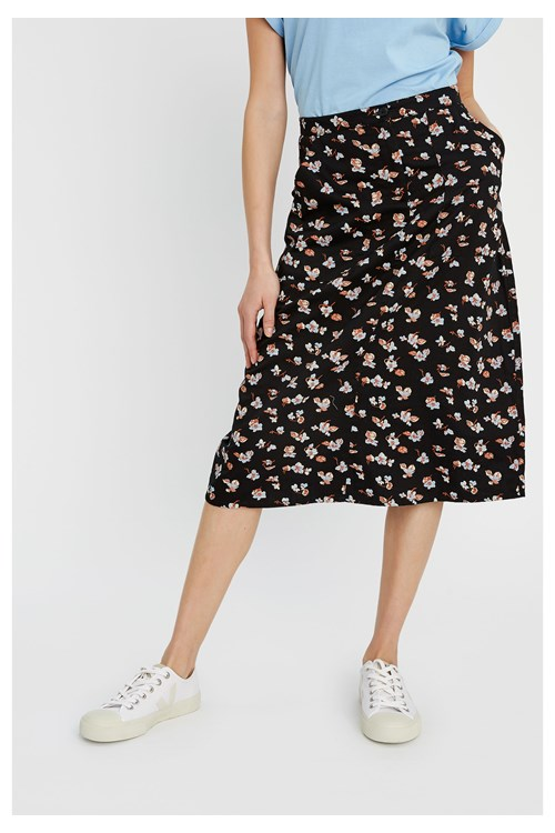 Thandie Blue Floral Skirt from People Tree