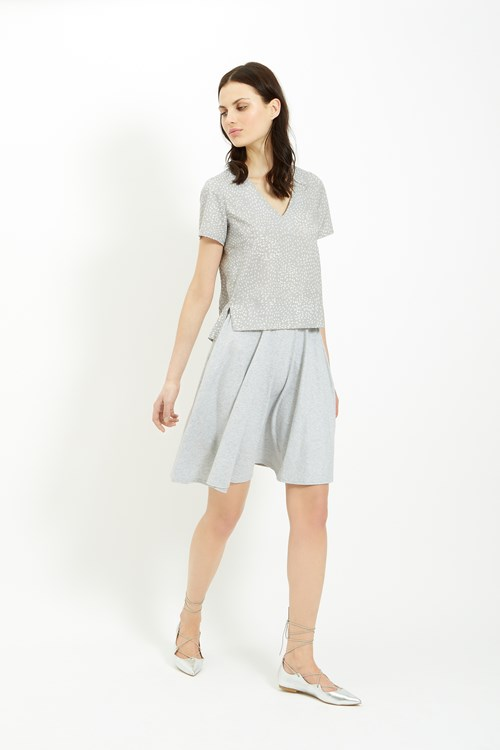 Tyler Jersey Skirt in Grey Melange
