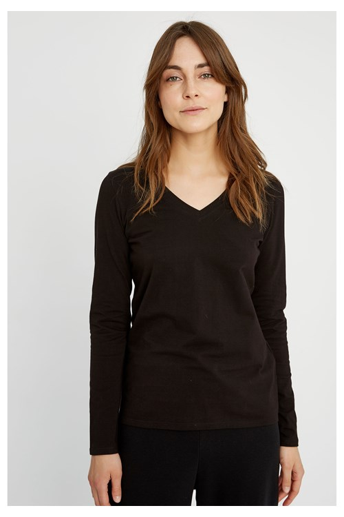 Amelie V-neck Top in Black from People Tree