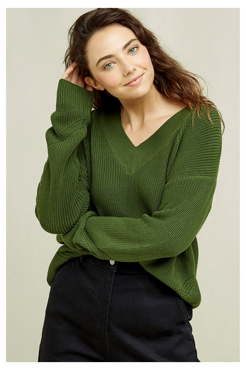 Annelisse V-neck Jumper In Khaki