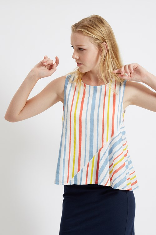 Avalon Stripe Top in Multi Coloured from People Tree