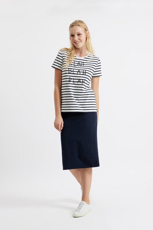Blah Blah Stripe Tee in Navy from People Tree