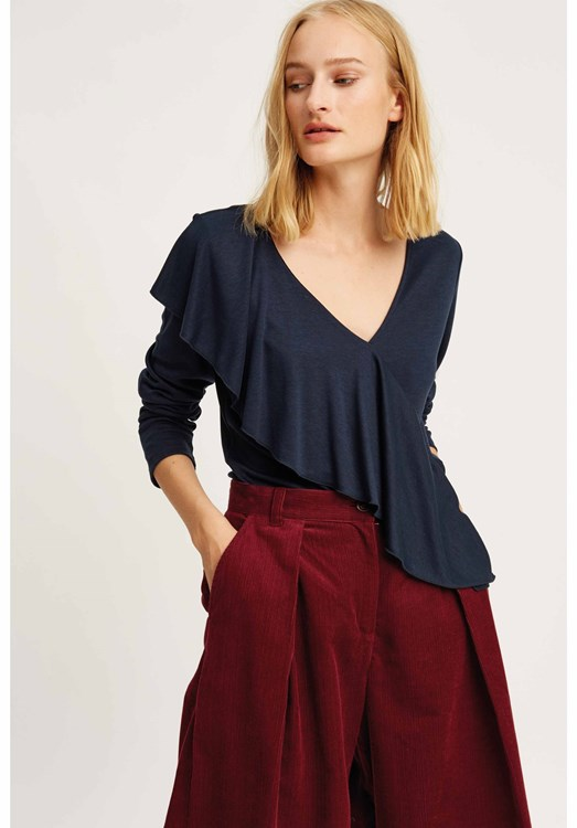 Brianna Frill Top Navy from People Tree