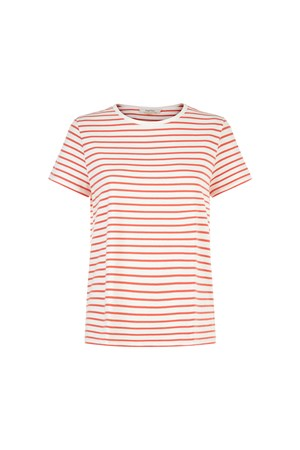 Callie Stripe Tee in Coral