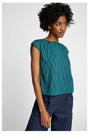 Camas Abstract Shell Top in Green