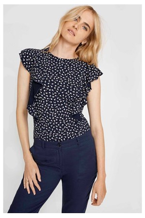 Carlotta Floral Top in Navy