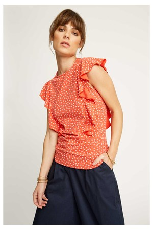 Carlotta Floral Top in Red