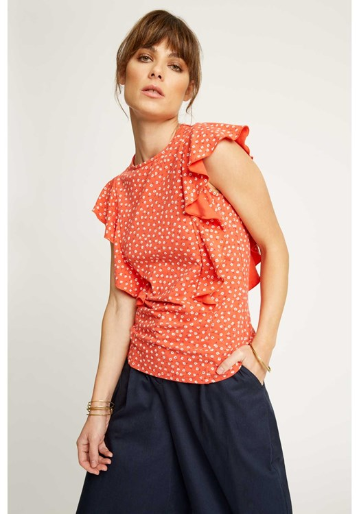 Carlotta Floral Top in Red from People Tree